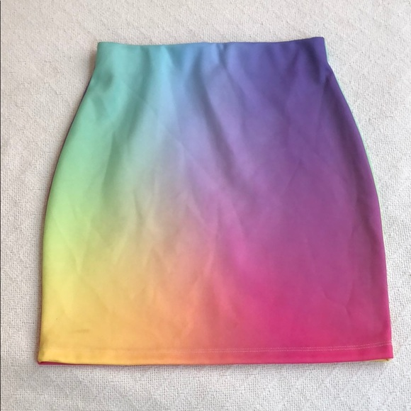 418ed9305165 omighty Skirts | Gradient Rainbow Bodycon Mini Skirt | Poshmark